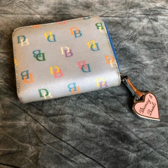 Dooney & Bourke mini blue rainbow zip wallet